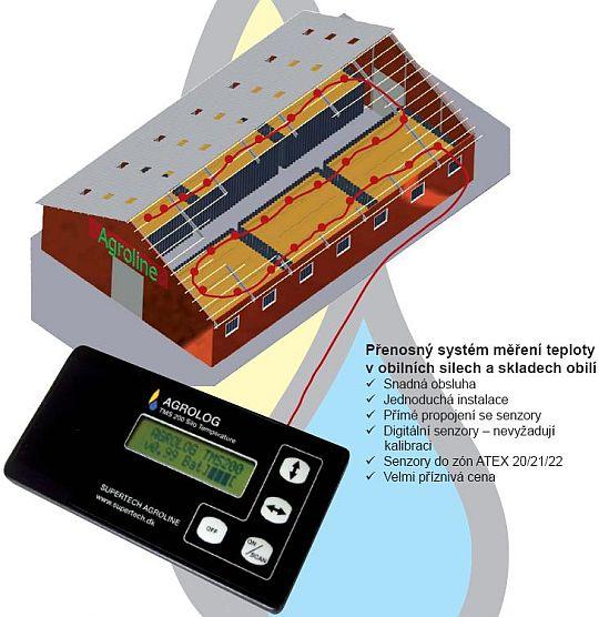 Přenosný systém měření teploty v obilních silech a skladech obilí Agrolog TMS 200