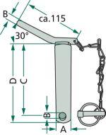 Kolík třetího bodu s řetězem a závlačkou schéma
